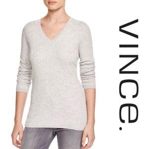 Vince Cashmere Gray V Neck Ribbed Sweater M